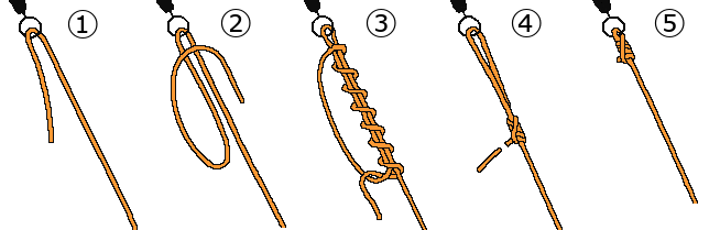 サルカンに結ぶユニノットの結び方