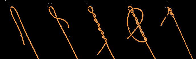 サルカンに結ぶクリンチノット結び方